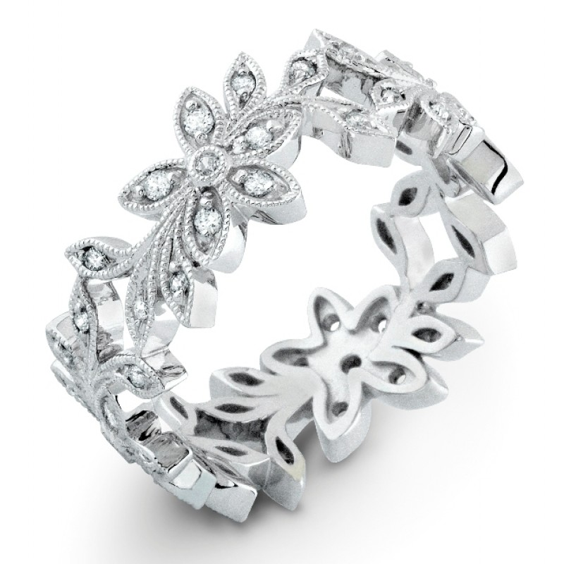 Floral Diamond Wedding Band