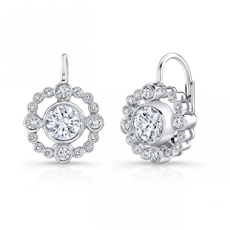 Bezel Set, Diamond,, Lever Back Earring. (Sold As Semi Mount)