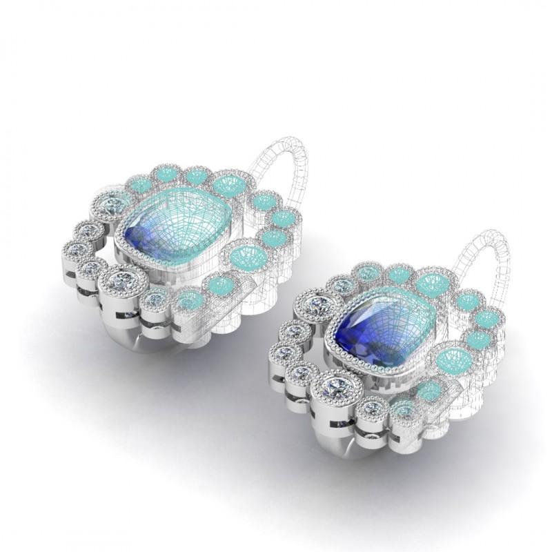 Silver Sapphire Flower Earrings