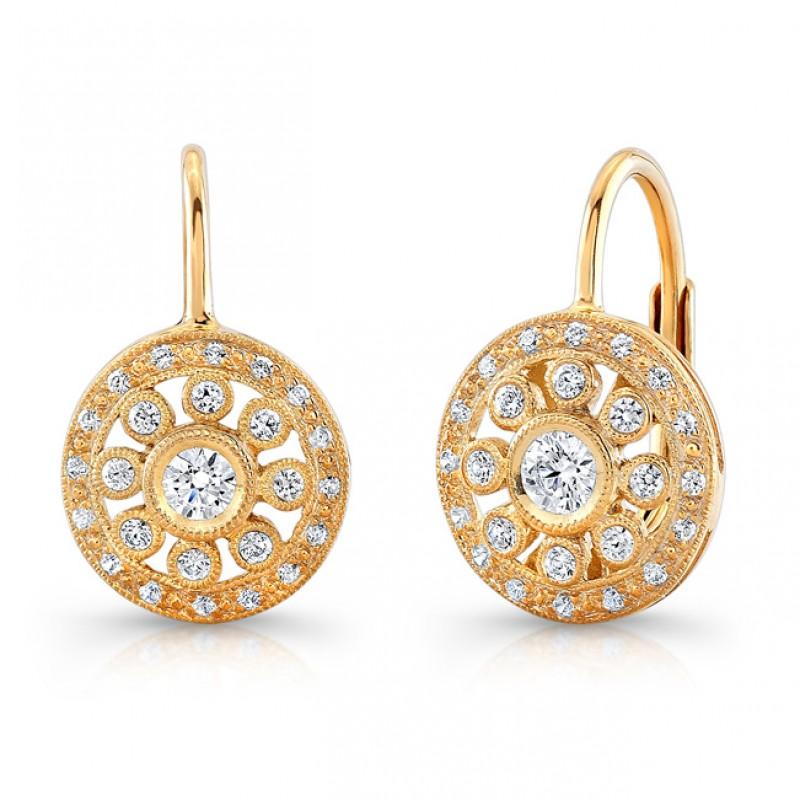 Yellow Gold Diamond Earring.