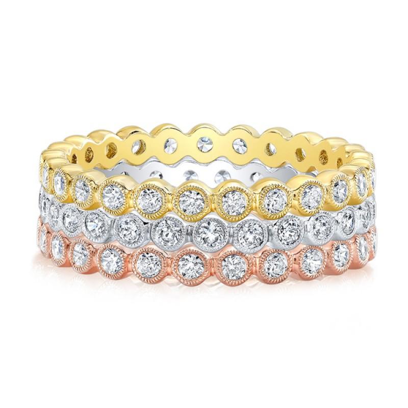 Bezel Set Diamond Stackable Wedding Ring Wedding Bands Rings