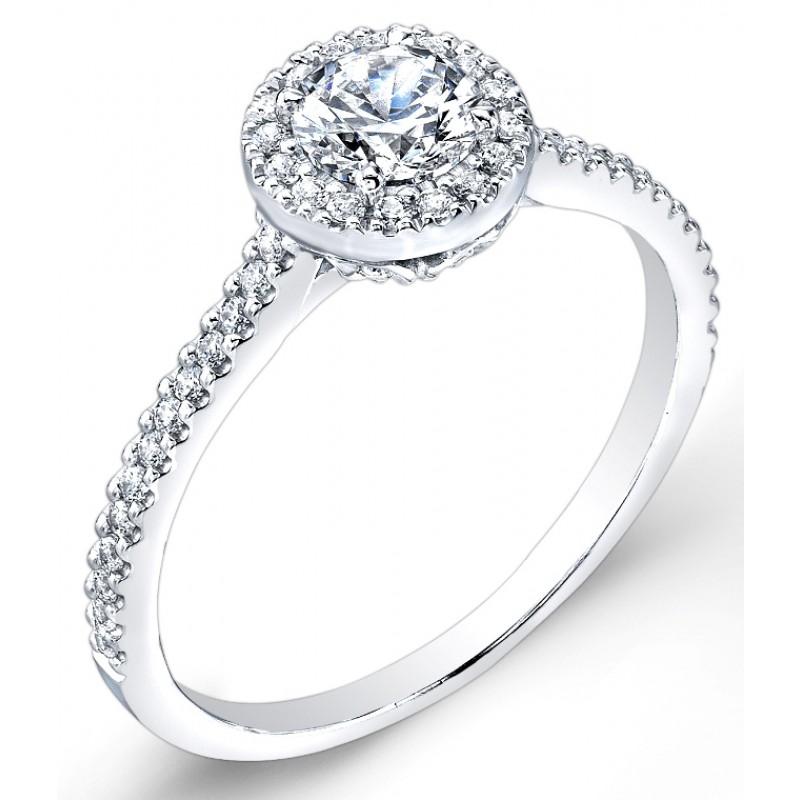 Petite Classic Halo, Pave' Set Diamond Engagement Ring