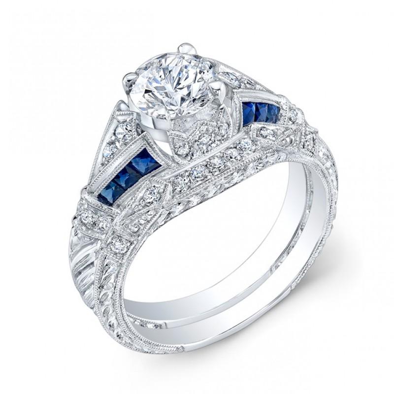 Diamond & Blue sapphire Engagement Ring