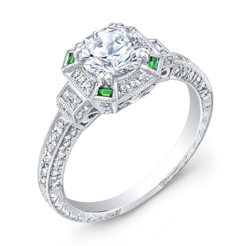 Art Deco Style, Diamond & Emerald Engagement Ring