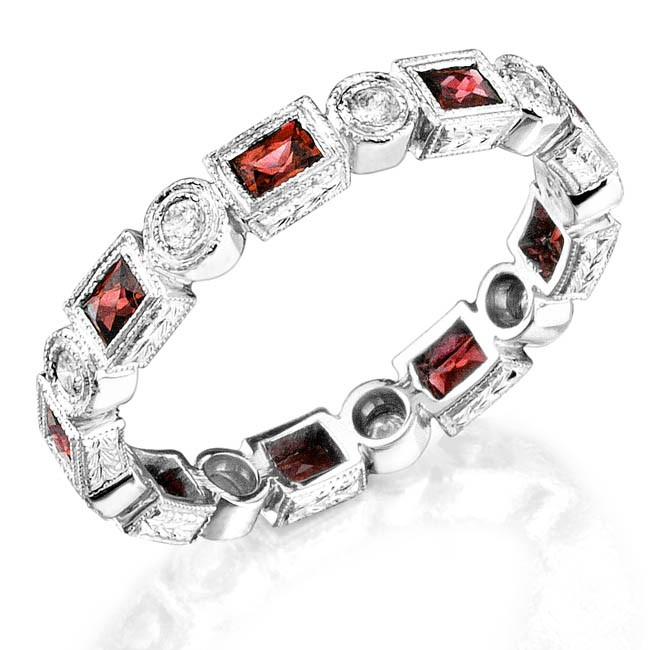 Baguette Ruby and Round Stackable Ring