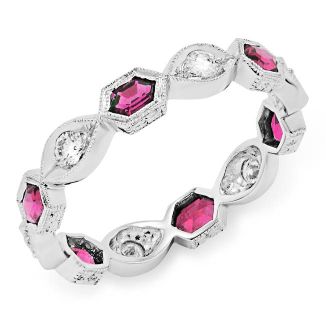Diamond and Pink Tourmaline Stackable Ring