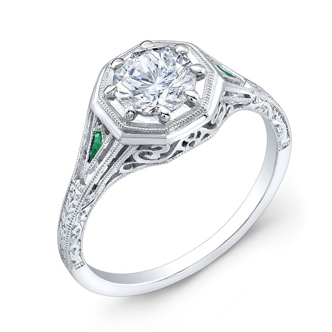 Antique Style, Engraved, Tsavorite Ring