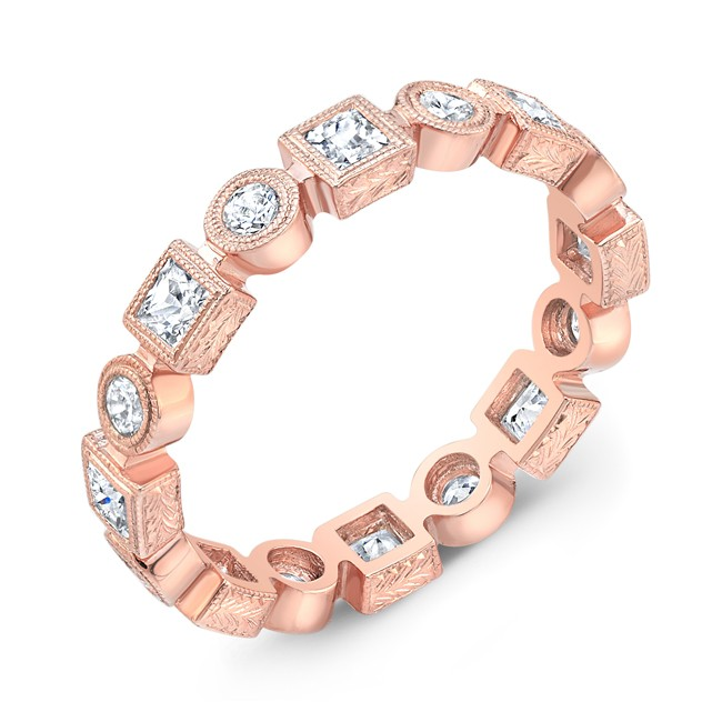 Princess Cut and Round Diamond Stackable Ring
