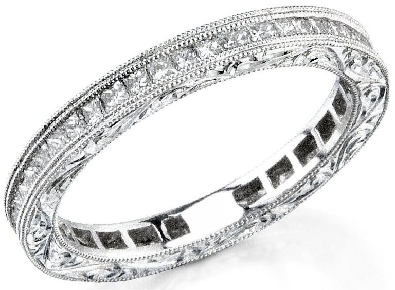 Channel Set Princess Cut Diamond Weddung Ring
