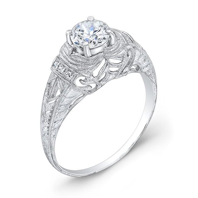Engraved Diamond Engagement Ring