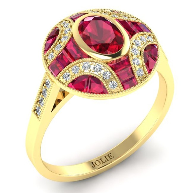 Antique Inspired Diamond & Ruby Ring