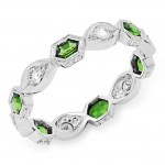 Diamond and Tsavorite Stackable Ring