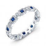 Engraved, Sapphire & Diamond Ring