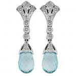 Diamond and Aquamarine Filigree Earring