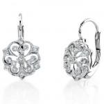 Round Diamond, Lever Back Earring