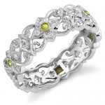 Eloquently Mill Grained Diamond and Yellow Sapphire Stackable Ring