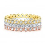 Bezel set diamond stackable wedding ring