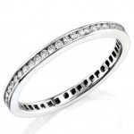 High Polished Channel Set, Diamond, Stackable Wedding Ring