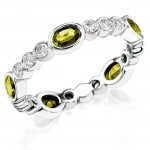 Diamond and Custom Cut Oval Yellow Sapphire Stackable Ring