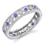 Lace Like Engraved & Mill Grained Satackable Ring With Round Brilliant Cut Diamonds and Blue Sapphires