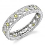 Lace Like Engraved & Mill Grained Satackable Ring With Round Brilliant Cut Diamonds and Yellow Sapphires