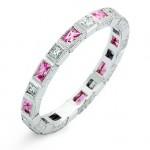 Bezel Set Baguette Pink Sapphires and Princess Cut Diamond Ring