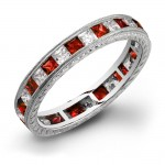 Princess Cut Rubies and Diamonds Channel Set in a Hand Engraved and Mill Grained Stackable Ring
