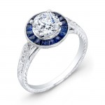 Art Deco Style Blue Sapphire and Diamond Engagement Ring