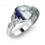Sapphire with hand engraving detail