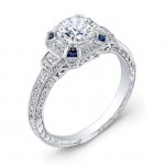 Art Deco Style, Diamond & Blue Sapphire Engagement Ring