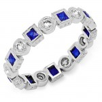 Bezel Set Princess Cut Blue Sapphire and Round Diamond Ring