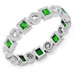 Bezel Set Princess Cut Tsavorite and Round Diamond Ring