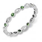 Diamond and Tsavorite Stackable Ring