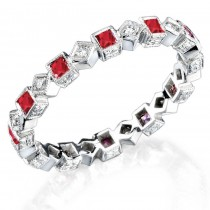 diamond and blue Ruby stackable ring