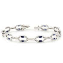Diamond and Blue Sapphire, Art Deco Bracelet