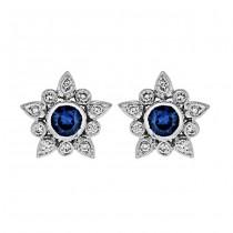 Diamond and Blue Sapphire Flower Earring