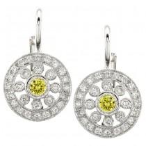 Diamond and Yellow Sapphire Earring