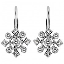 Round Diamond, Snow Flake Earring