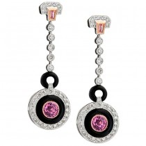 Diamond and Pink Sapphire Art Deco Earrings With Onyx Accents
