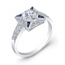 Diamond and Blue Sapphire Ring