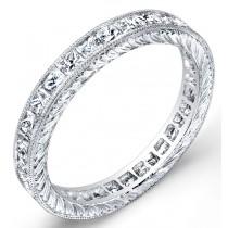 Engraved Princess Cut Diamond Ring