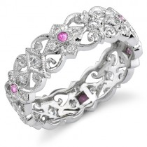 Eloquently Mill Grained Diamond and Pink Sapphire Stackable Ring