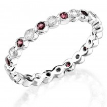 Bezel set diamond and pink sapphire stackable ring