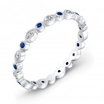 Diamond & Blue Sapphire, Stackable Ring