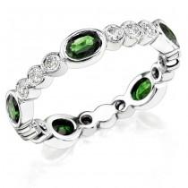 Diamond and Custom Cut Oval Tsavorite Stackable Ring