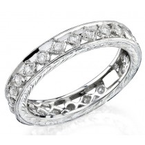Lace Like Engraved & Mill Grained Ring With Round Brilliant Cut Diamonds