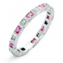 Bezel Set Baguette Pink Sapphires and Princess Cut Diamond Ring
