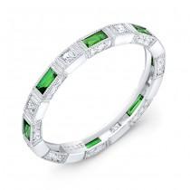 Bezel Set Baguette Tsavorite  and Princess Cut Diamond Stackable Ring