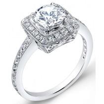 Modern Nouveau,  Halo Style, Diamond Engagement Ring