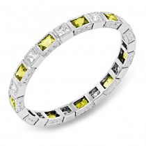 Bezel Set Baguette Yellow Sapphire and Princess Cut Diamond Stackable Ring
